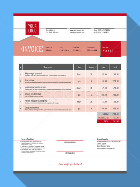Vector Customizable Invoice Form Template Design. Vector Illustration. Red Color Theme Stock photo © mikhailmorosin
