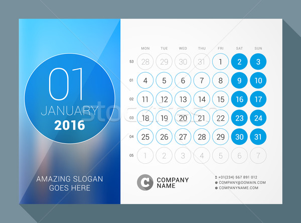 January 2016. Desk Calendar for 2016 Year. Vector Design Print Template with Place for Photo and Cir Stock photo © mikhailmorosin
