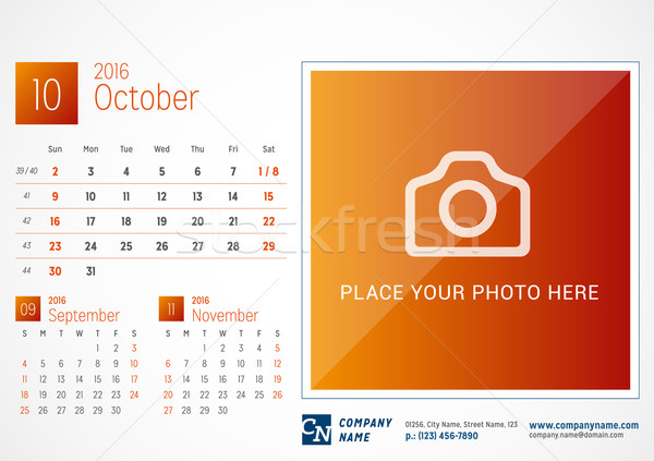 Desk Calendar 2016. Vector Print Template. October. Week Starts Sunday Stock photo © mikhailmorosin