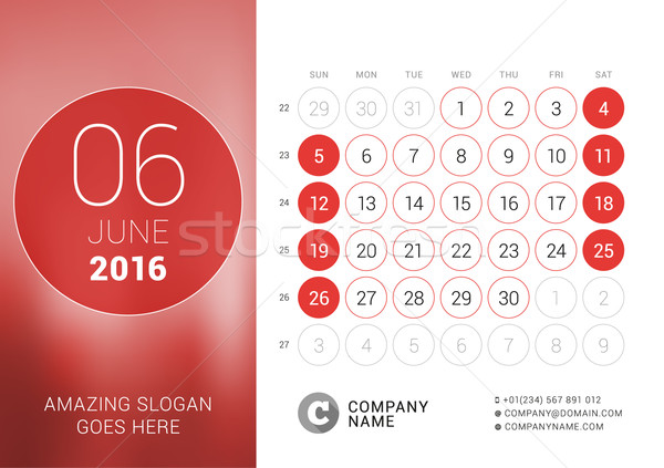 Stock photo: June 2016. Desk Calendar for 2016 Year. Vector Design Print Template with Place for Photo and Circle