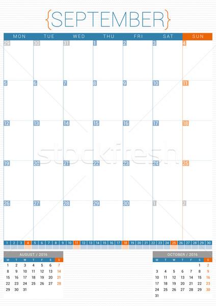 Calendário 2016 modelo de design semana papel Foto stock © mikhailmorosin