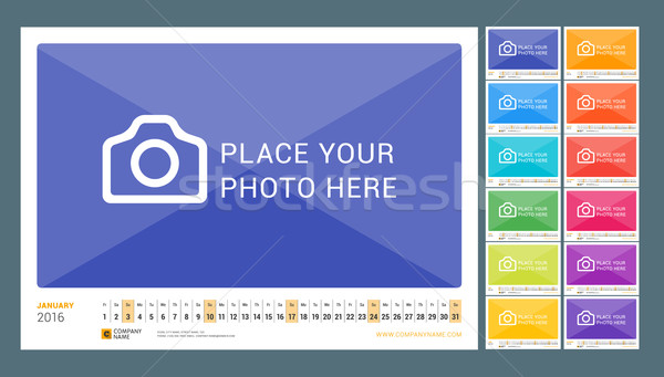 Wall Monthly Line Calendar for 2016 Year. Vector Design Print Template. Landscape Orientation. Set o Stock photo © mikhailmorosin