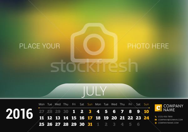 July 2016. Desk Calendar for 2016 Year. Vector Design Print Template with Place for Photo. Week Star Stock photo © mikhailmorosin