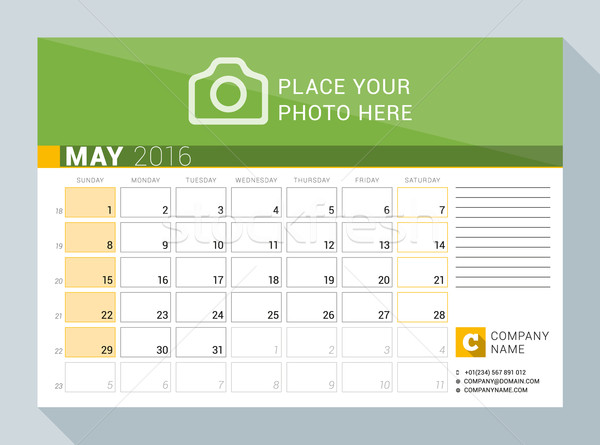 Calendar Planner for 2016 Year. May. Vector Print Template with Place for Photo, Logo and Contact In Stock photo © mikhailmorosin