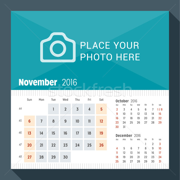 November 2016. Desk Calendar for 2016 Year. Week Starts Sunday. 3 Months on Page. Vector Design Prin Stock photo © mikhailmorosin