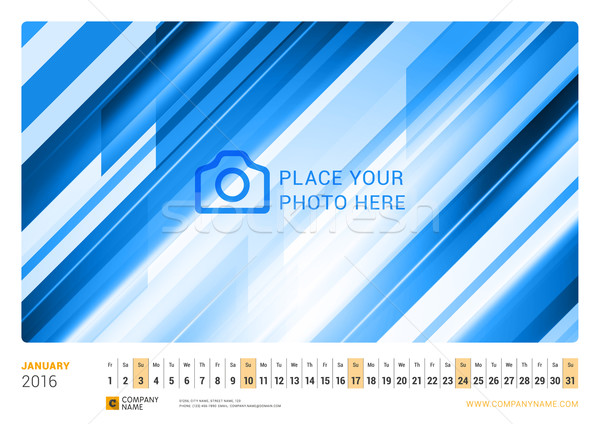Wall Monthly Line Calendar for 2016 Year. Vector Design Print Template. Landscape Orientation. Janua Stock photo © mikhailmorosin