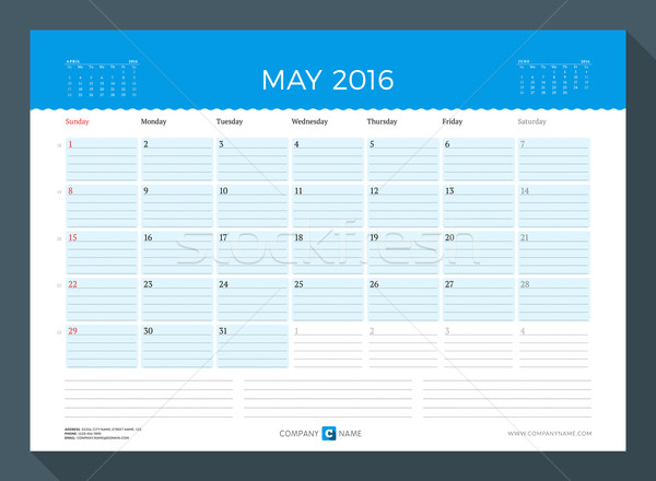 May 2016. Monthly Calendar Planner for 2016 Year. Vector Design Print Template. Week Starts Sunday Stock photo © mikhailmorosin