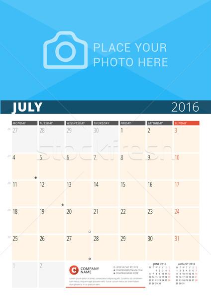 Stock fotó: Fal · naptár · tervező · 2016 · év · vektor