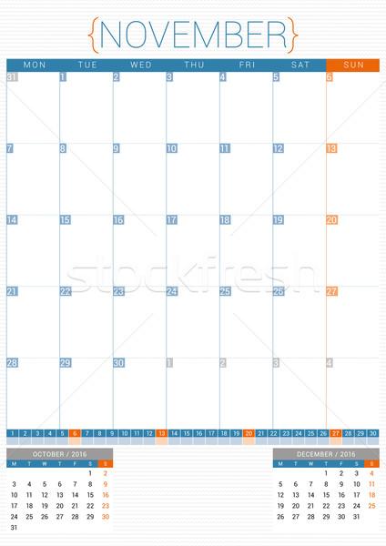 Calendar Planner 2016 Design Template. November. Week Starts Monday Stock photo © mikhailmorosin