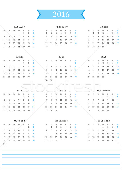 Calendar for 2016 Year. Vector Design Print Template. Week Starts Monday. Portrait Orientation Stock photo © mikhailmorosin