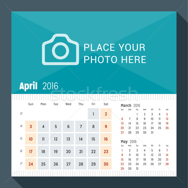 April 2016. Desk Calendar for 2016 Year. Week Starts Sunday. 3 Months on Page. Vector Design Print T Stock photo © mikhailmorosin
