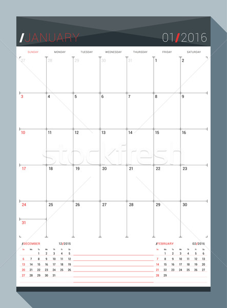 Stock photo: January 2016. Vector Design Print Template. Monthly Calendar Planner for 2016 Year. 3 Months on Page