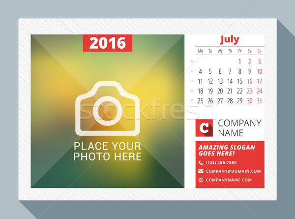 Stock photo: July 2016. Desk Calendar for 2016 Year. Vector Design Print Template with Place for Photo, Logo and