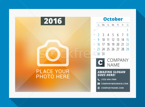October 2016. Desk Calendar for 2016 Year. Vector Design Print Template with Place for Photo, Logo a Stock photo © mikhailmorosin