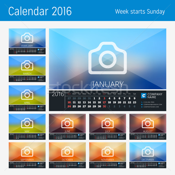 Stock photo: Desk Calendar for 2016 Year. 12 Months. Place for Photo, Logo and Contact Information. Week Starts S