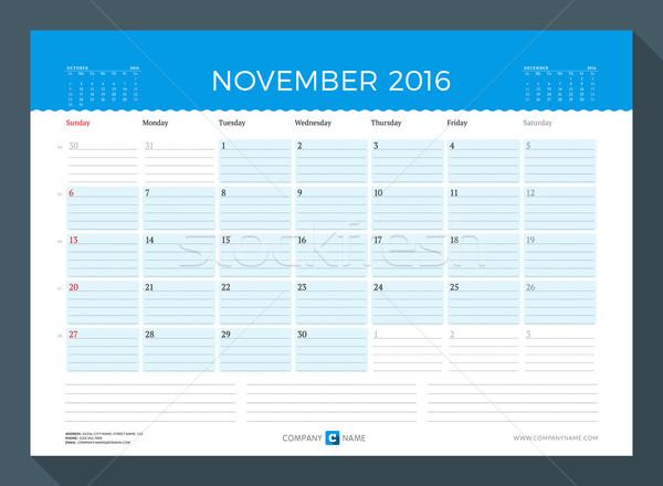 November 2016. Monthly Calendar Planner for 2016 Year. Vector Design Print Template. Week Starts Sun Stock photo © mikhailmorosin