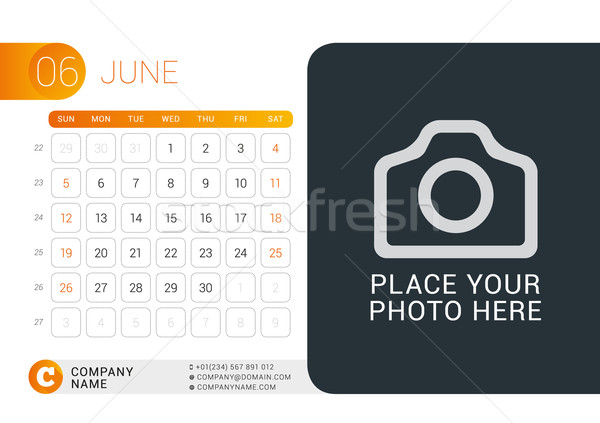 Desk Calendar for 2016 Year. June. Vector Design Print Template with Place for Photo, Logo and Conta Stock photo © mikhailmorosin