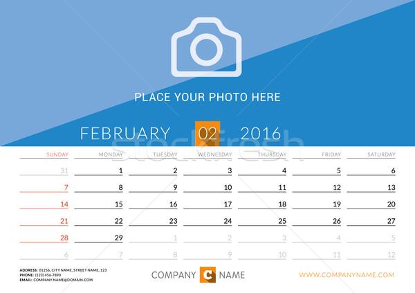 Desk Calendar 2016. Vector Print Template. February. Week Starts Sunday Stock photo © mikhailmorosin