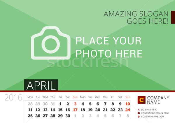 Asztal naptár 2016 év vektor terv Stock fotó © mikhailmorosin