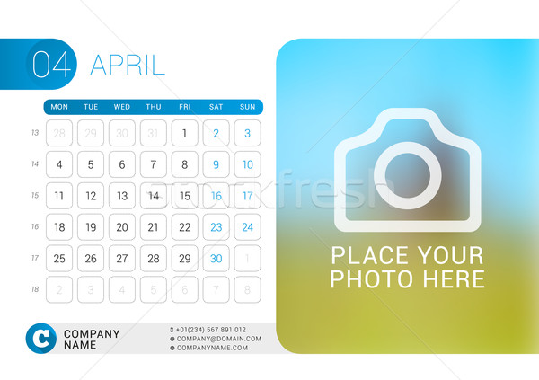 Stock photo: Desk Calendar for 2016 Year. April. Vector Design Print Template with Place for Photo, Logo and Cont