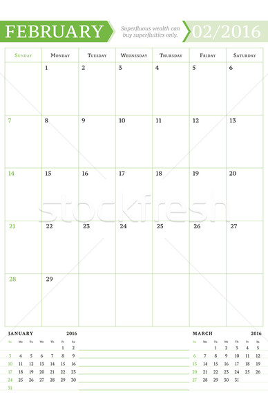 February 2016. Monthly Calendar Planner for 2016 Year. Vector Design Print Template with Place for N Stock photo © mikhailmorosin