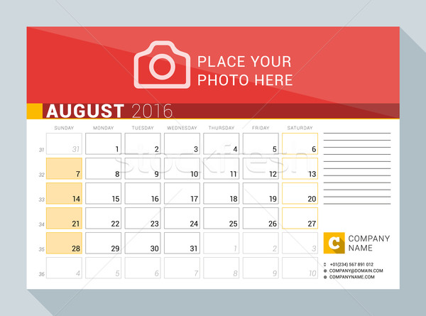 Calendario 2016 año agosto vector Foto stock © mikhailmorosin