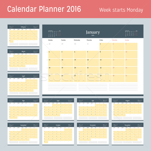Calendrier planificateur 2016 année vecteur design Photo stock © mikhailmorosin