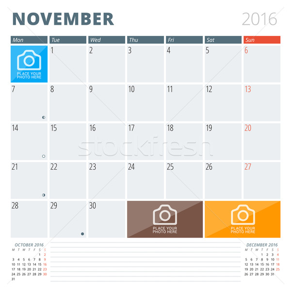 Calendar Planner 2016 Design Template with Place for Photos and Notes. November. Week Starts Monday Stock photo © mikhailmorosin