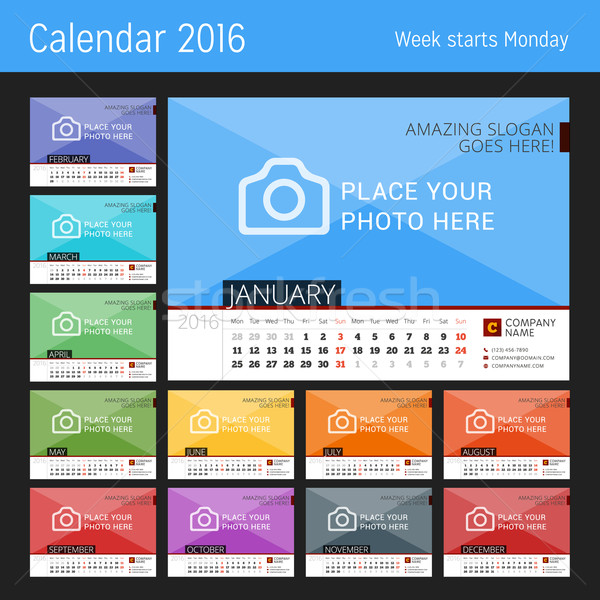 Desk Calendar 2016 Year. Vector Design Print Template with Place for Photo. Set of 12 Months. Week S Stock photo © mikhailmorosin
