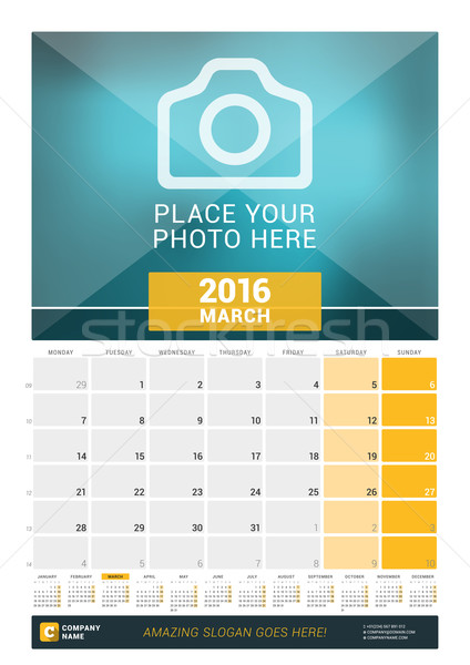 March 2016. Wall Monthly Calendar for 2016 Year. Vector Design Print Template with Place for Photo a Stock photo © mikhailmorosin