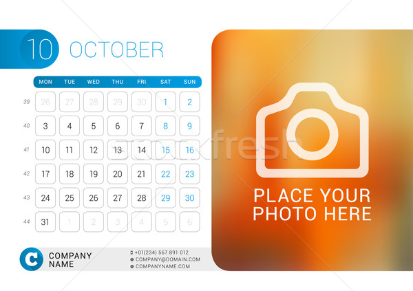 Desk Calendar for 2016 Year. October. Vector Design Print Template with Place for Photo, Logo and Co Stock photo © mikhailmorosin