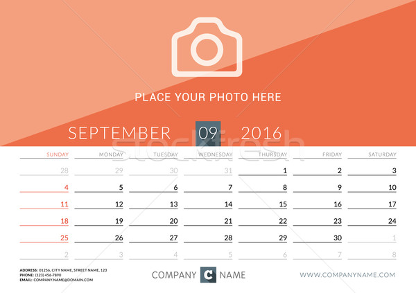 Desk Calendar 2016. Vector Print Template. September. Week Starts Sunday Stock photo © mikhailmorosin