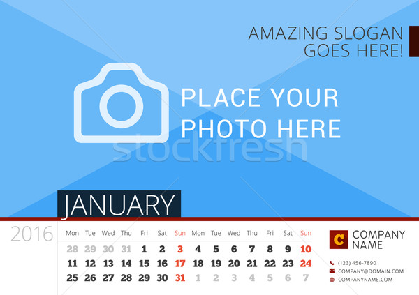 Stock photo: Desk Calendar 2016 Year. Vector Design Print Template with Place for Photo. January. Week Starts Mon