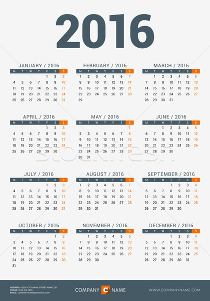 Stock photo: Calendar for 2016 Year. Vector Design Print Template with Company Logo and Contact Information. Week
