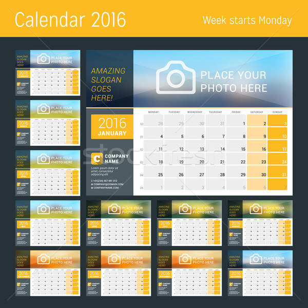 Desk Calendar for 2016 Year. Set of 12 Months. Vector Design Print Template with Place for Photo, Lo Stock photo © mikhailmorosin