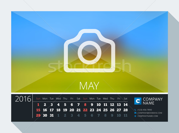May 2016. Vector Stationery Design. Print Template. Desk Calendar for 2016 Year. Place for Photo, Lo Stock photo © mikhailmorosin