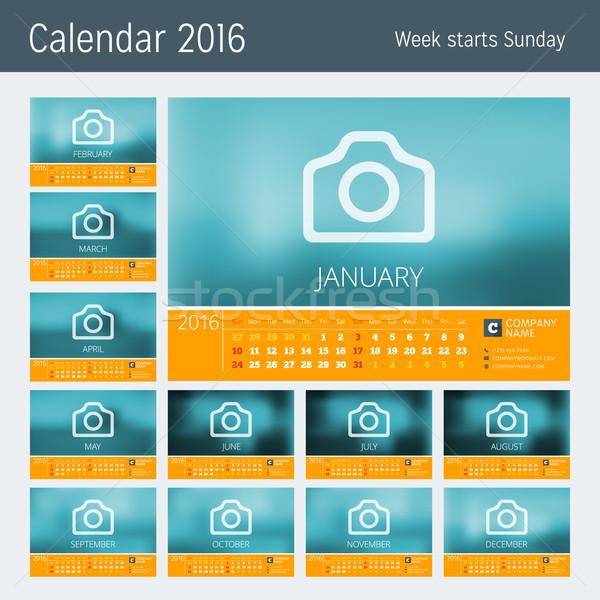行 カレンダー 2016 年 ベクトル デザイン ストックフォト © mikhailmorosin
