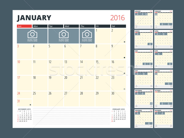 Calendário modelo 2016 ano vetor Foto stock © mikhailmorosin