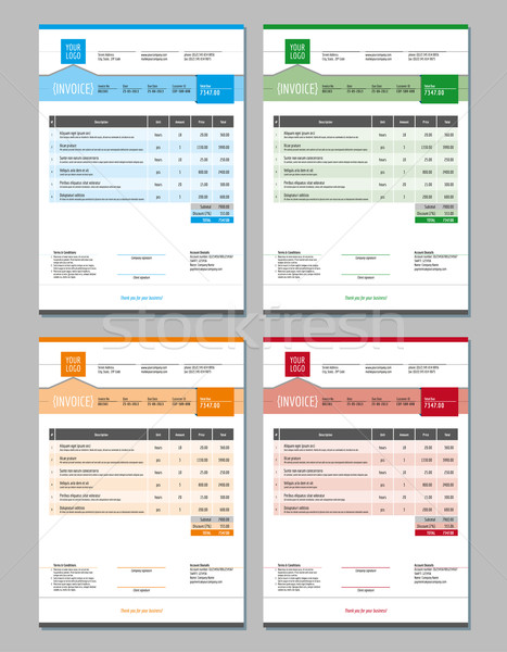Stock photo: Set of Vector Invoice Design Templates. 4 Color Themes