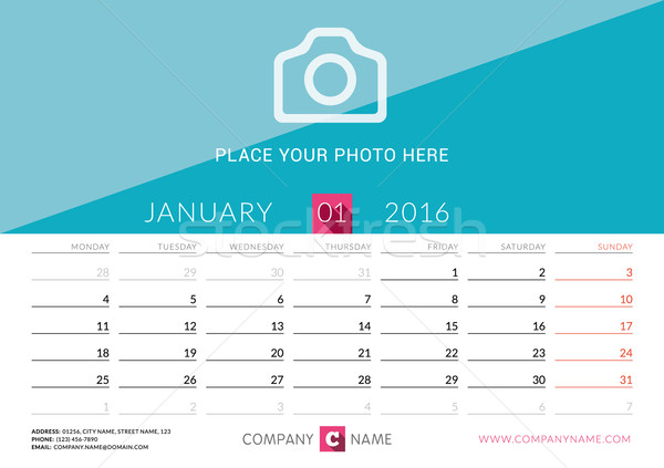 Desk Calendar 2016. Vector Print Template. January. Week Starts Monday Stock photo © mikhailmorosin