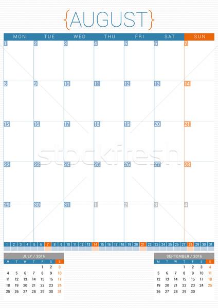 Calendrier planificateur 2016 modèle de conception août semaine Photo stock © mikhailmorosin