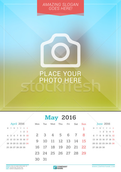 Stock photo: May 2016. Wall Monthly Calendar for 2016 Year. Vector Design Print Template with Place for Photo. We