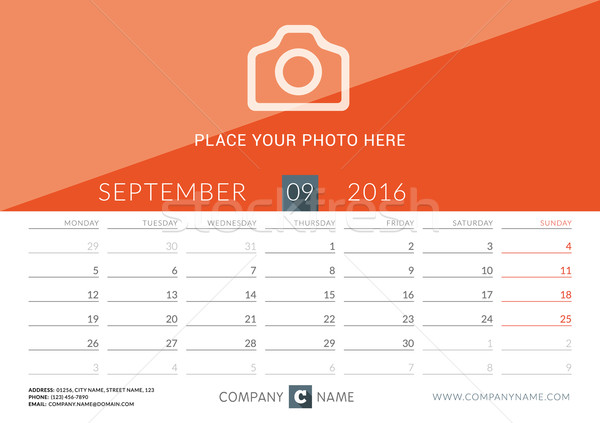 Desk Calendar 2016. Vector Print Template. September.  Week Starts Monday Stock photo © mikhailmorosin