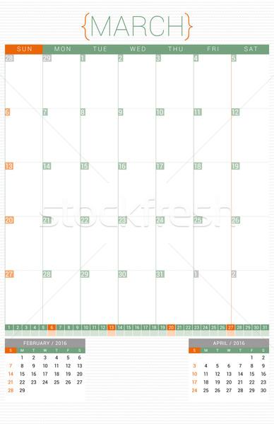 Calendário 2016 modelo de design semana escritório Foto stock © mikhailmorosin