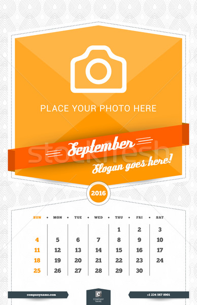 September 2016. Wall Monthly Calendar for 2016 Year. Vector Design Print Template with Place for Pho Stock photo © mikhailmorosin