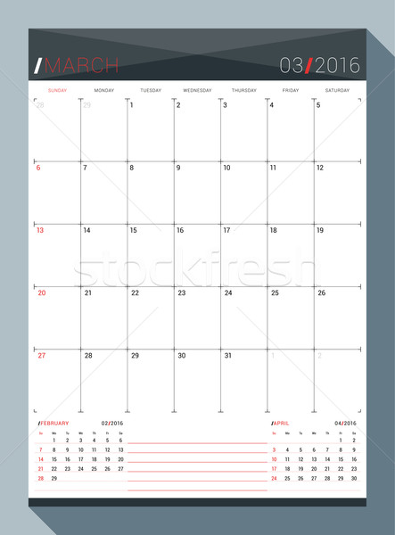 March 2016. Vector Design Print Template. Monthly Calendar Planner for 2016 Year. 3 Months on Page.  Stock photo © mikhailmorosin