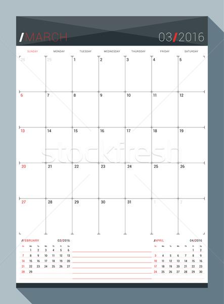 2016 vektör dizayn baskı şablon aylık Stok fotoğraf © mikhailmorosin