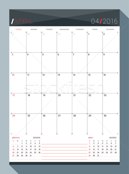April 2016 Vector Design Print Template Monthly Calendar Planner