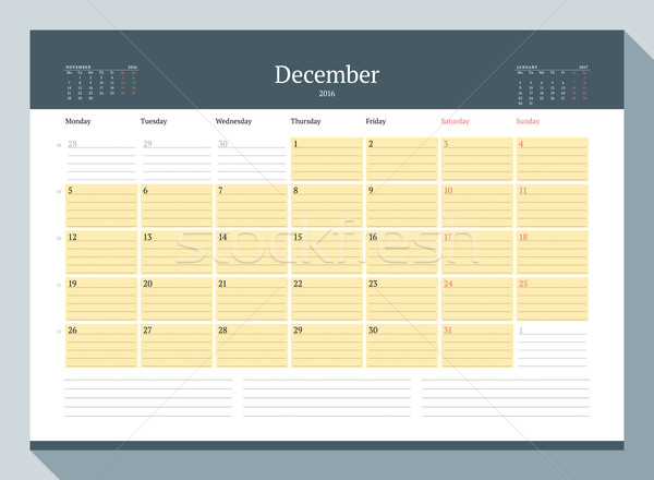 December 2016. Monthly Calendar Planner for 2016 Year. Vector Design Print Template. Week Starts Mon Stock photo © mikhailmorosin