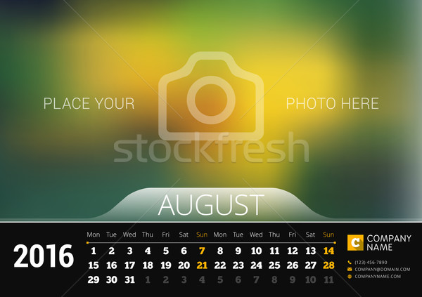 August 2016. Desk Calendar for 2016 Year. Vector Design Print Template with Place for Photo. Week St Stock photo © mikhailmorosin